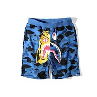 BAPE summer tiger shark stitching men and women loose casual five points shorts F-A-KSFZ blue