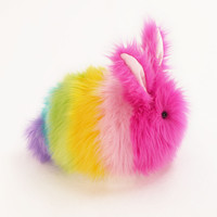 Girly Rainbow Bunny Stuffed Animal Plush Toy