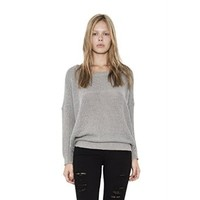Womens Grey Lurex Kenzie Pullover Long Sleeve Sweater By One Grey Day