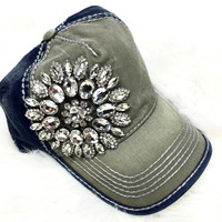 GLAM BASEBALL HAT IN FOREST GREEN/NAVY