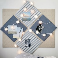 No Nails Dorm Pinboard, Blue Ticking Stripe