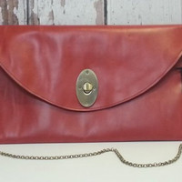 Envelope big leather clutch bronze color buckle long chain oversize clutch large red leather clutch envelope big leather red purse