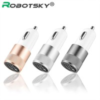 Universal USB Car Charger Portable Aluminium Dual 2-port Car-charger Charge Adapter For Iphone 6  Samsung Smart Phone Chargering
