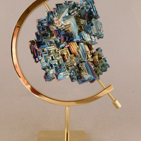 A GIANT! Symmetrical Purple Blue and Gold BISMUTH Crystal England! With Stand 458 e