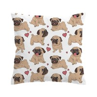Pug Hearts Pillow Cases