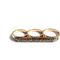 """Knuckle Up"" Gold And Diamond Accent Three Finger Ring"