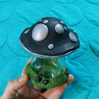 Black & Silver Mushroom Family Stash Jar for Trinkets, Jewelry, Lotions, and Pills