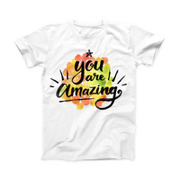 The Watercolor Stroke You are Amazing ink-Fuzed Front Spot Graphic Unisex Soft-Fitted Tee Shirt