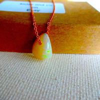 Natural Ethiopian Welo Opal Floating Stone Pendant & 14k Rose Gold Fill 925 Sterling Silver Chain Necklace; Rough Opal Unique Gift for Her
