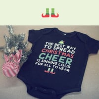 Cute Christmas Theme Baby Bodysuit - Pre-Shrunk Cotton Snap-On Style Baby Onesuit