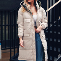 Women's hot style medium length added thick high collar coat