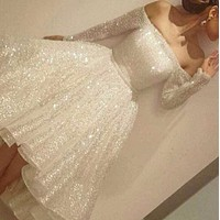 Fashion casual Sequin dress dress dress