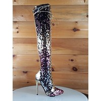 C&C Gold Rose Multi Color Sequin Lace Up Above Knee High Heel Thigh Boot