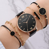 5pcs Set Top Style Fashion Women's Luxury Leather Band Analog Quartz WristWatch Ladies Watch Women Dress Reloj Mujer Black Clock