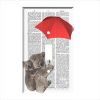 Light Switch Cover - Light Switch Plate Flying Koalas Vintage Dictionary Print