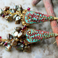 Vintage Brass and Swarovski, Lovely Golden Olive keishi pearls and garnet clay floral gold earrings - In the Molten Golden Sunlight