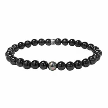925 Sterling Silver in Onyx with Swarovski Scarabaeus Pearl Accent Spiritual Beads Bracelet