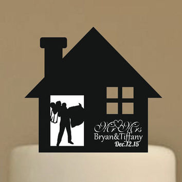 rustic wedding cake topper - personalized wedding cake topper, silhouette wedding cake topper - custom cake topper - funny cake topper