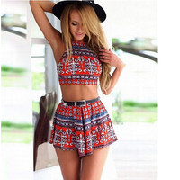 Summer Elastic Beach Women  Jumpsuit Hawaii Print Rompers Free Shipping