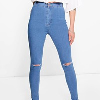 Lara High Rise Soft Blue Knee Rip Skinny Jeans