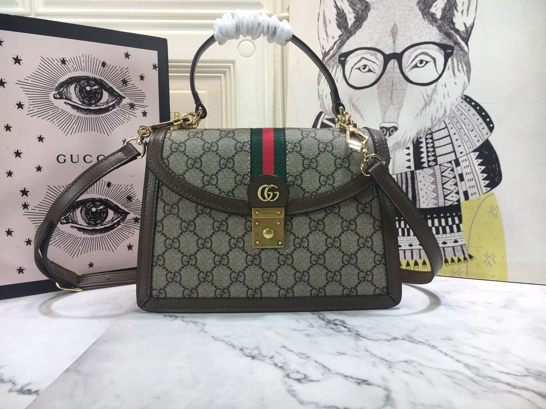 Image of Gucci 2021Women's Leather Shoulder Bag Satchel Tote Bags Crossbody25x17.5x7cm 0526ay