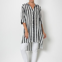 Striped Button Down Oversized Tunic Top