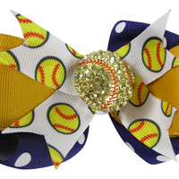 Softball Purple & Gold Hair Bow Clip with Rhinestone