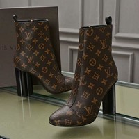 LV Louis Vuitton Women Fashion Short Boots High Heels Shoes