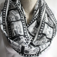 Cinema Infinity Scarf, Movie Scarf, Black and White Infinity Scarf, Women Accessories, Gift Ideas for Her