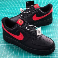 Nike Air Force 1 Low Black Red Sport Shoes - Best Online Sale