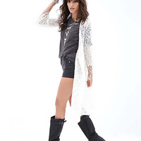 Lace Long Sleeve Fringed Mid Cover-up