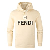 FENDI Hot Sale Women Men Print Long Sleeve Hoodie Sweater Sweatshirt Beige &Yellow