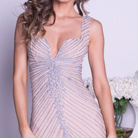 ORY DRESS IN NUDE WITH SILVER