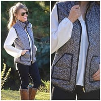 Most Coveted Quilted Herringbone Printed Puffer Vest! (Like JCrew)