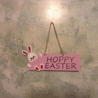 Hoppy Easter Hanging Easter Bunny Sign, Easter Home Decor, Wooden Easter Decoration, Happy Easter Bunny Sign, Easter Wall Decor