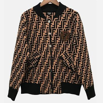 FENDI Autumn Winter Trending Women Men Stylish F Letter Long Sleeve Knit Cardigan Sweater Coat Coffee