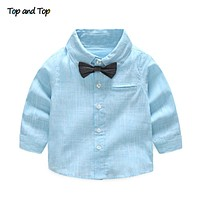 Summer Baby Boy Shirt Formal Cotton Bow Tie Kids Blouse Striped Long Sleeve Casual Children Top