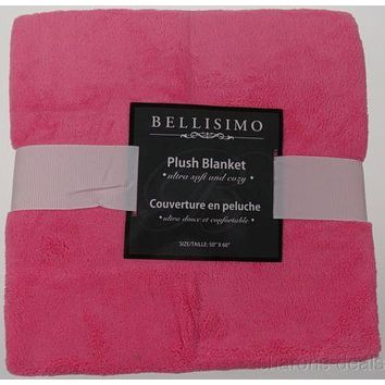 Bellisimo Luxurious Plush Blanket Pink 50x60 Soft Cozy Thick Warm Polyester NEW