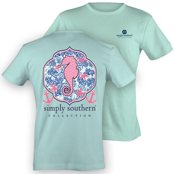 Image of NEW Simply Southern Preppy Seahorse Starfish Anchor Bow Girlie Bright T Shirt