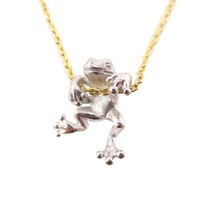 Realistic Frog Pendant Dangling on a Chain Necklace in Silver   Animal Jewelry