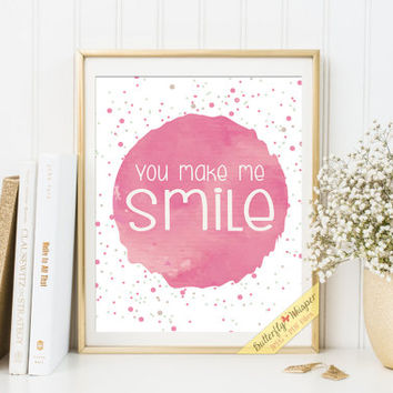Nursery print You make me smile, nursery room becor baby gift baby room decorations nursery prints children room wall quotes framed art