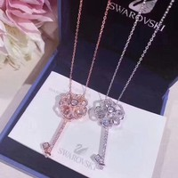Swarovski Fashion New Diamond Floral Key Pendant Sterling Silver Women Necklace