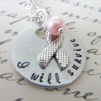 Personalized Necklace Breast Cancer Awareness jewelry I will survive Breast Cancer necklace