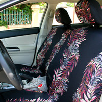 Car seat covers, colored leaves on black background, 8-pieces set for front and rear adult car seats