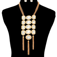 "20"" gold layered chain crystal tassel fringe choker collar bib necklace earrings"