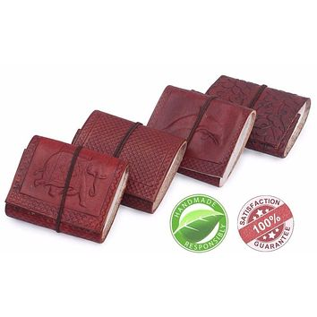 Handmade Leather Pocket Journals With Embossed Pattern, Pack Of 4, Brown By Benzara