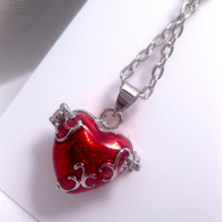 Red Heart Locket Or Prayer Box Necklace