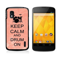 Keep Calm And Drum On Coral-Floral Google Nexus 4 Case - For Nexus 4