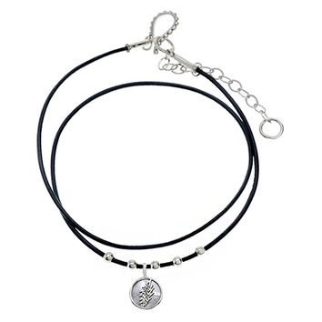Lightning Bolt Sterling Silver Beads & Thin Leather Necklace
