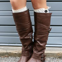 Road Maps Brown Tall Boots With Low Heel & Cross Strap Details